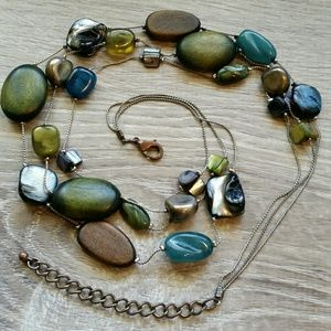 3-Strand Multicolor Stone Necklace